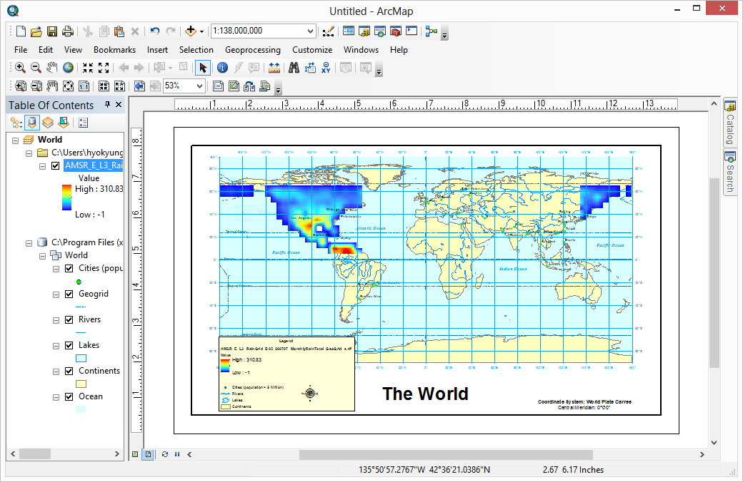 ArcGIS Desktop showing the subsetted GeoTIFF file