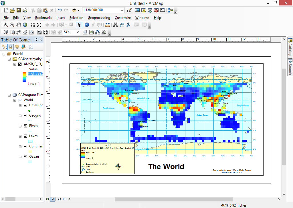 ArcGIS Desktop showing the converted GeoTIFF file