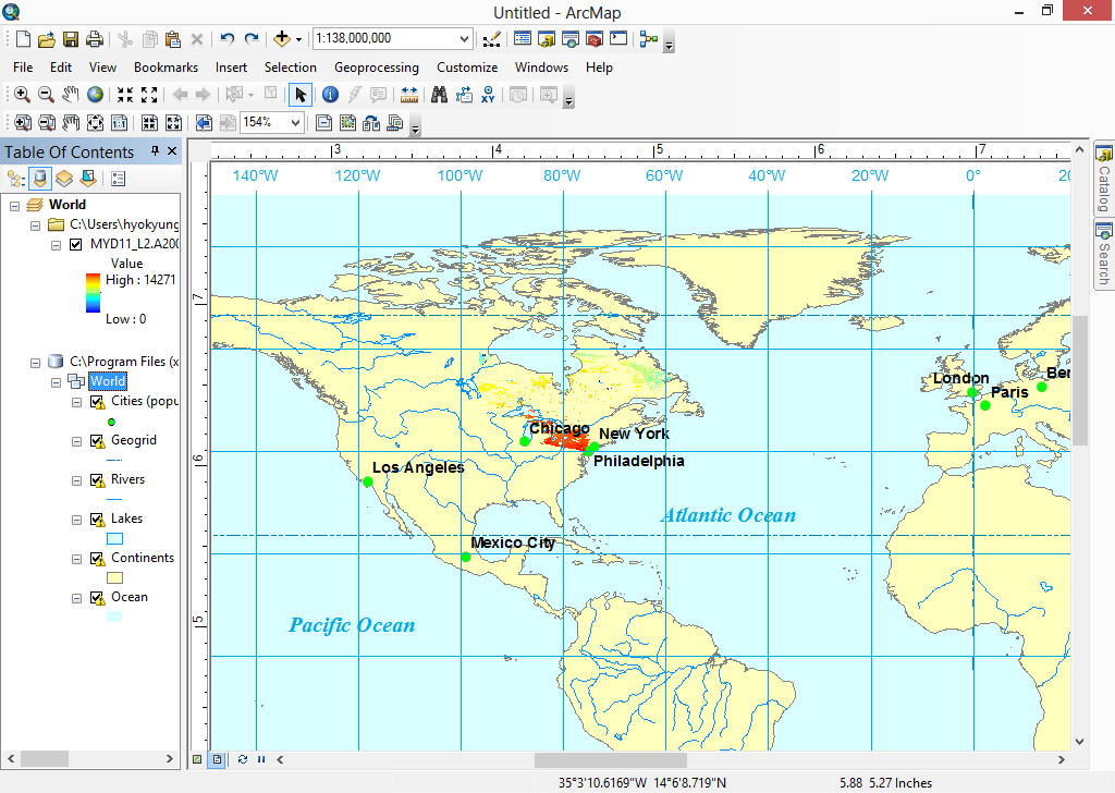 ArcGIS Desktop showing the converted GeoTIFF file from HDF-EOS2 Swath file.