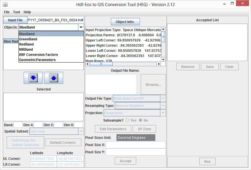 HEG GUI with a MISR HDF-EOS2 SOM Grid file