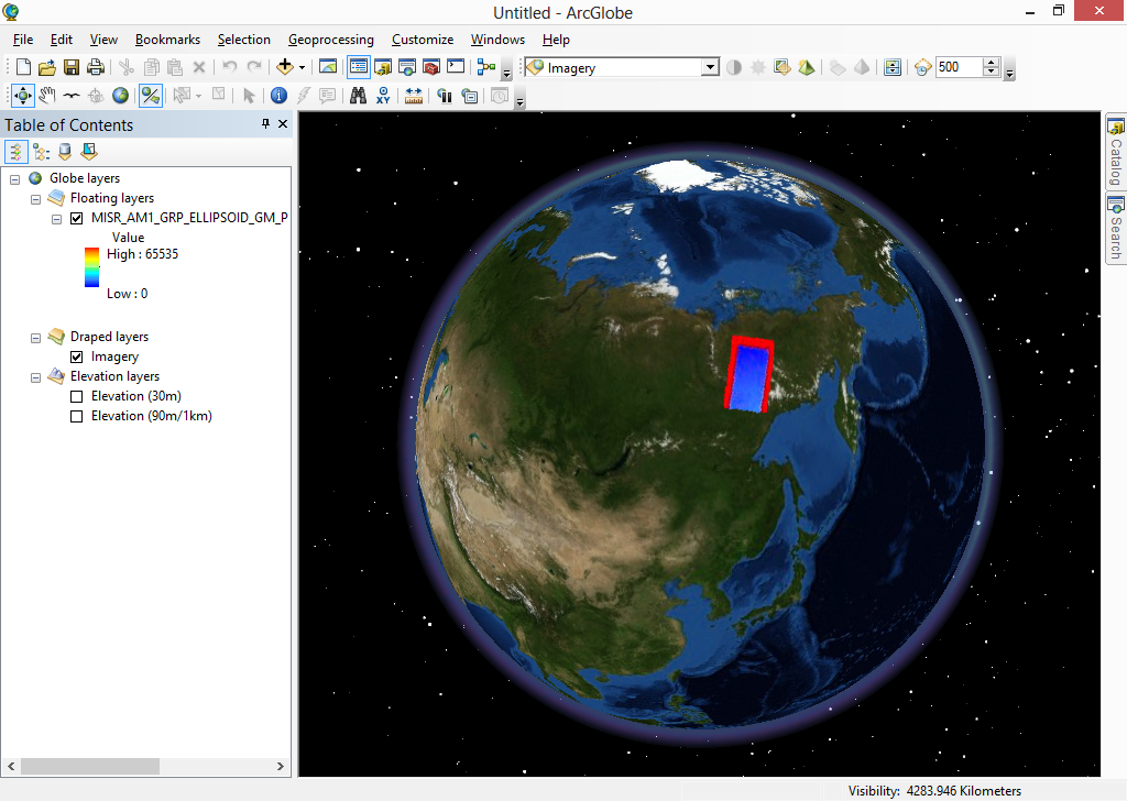 ArcGIS Desktop showing the converted GeoTIFF file from MISR HDF-EOS2 file