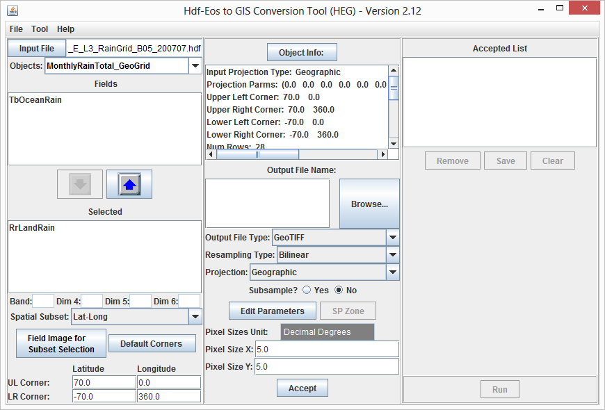 Convert a data field in HDF-EOS2 grid data